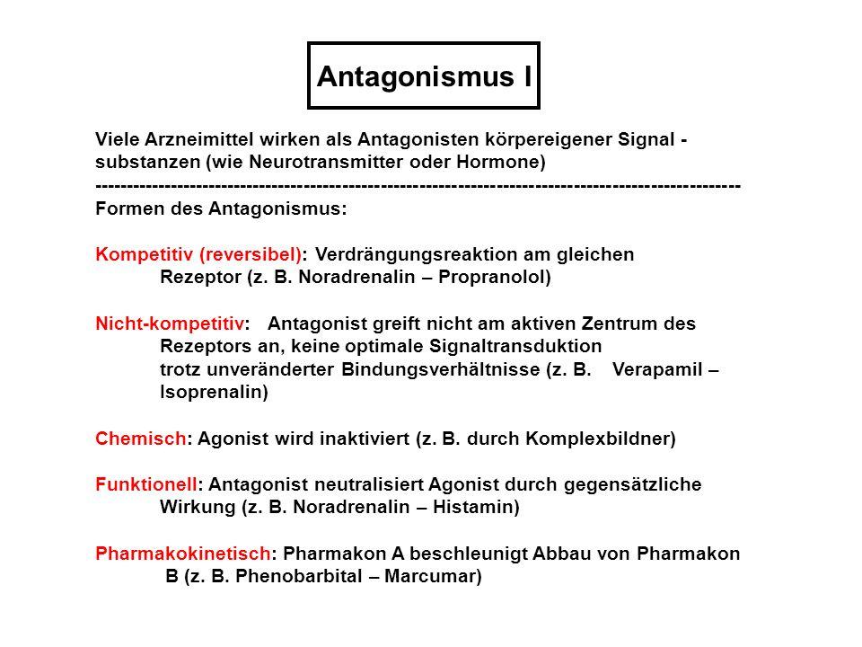 Antagonismus IViele Arzneimittel wirken als Antagonisten körpereigener Signal -substanzen (wie Neurotransmitter oder Hormone)