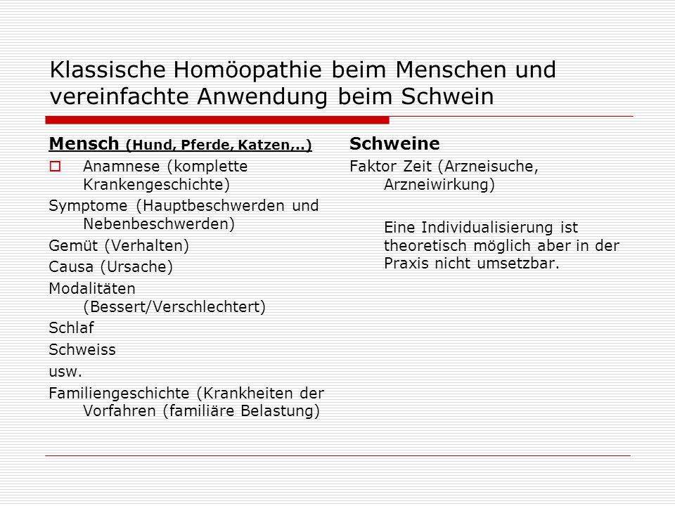 Klassische Homöopathie beim Menschen und vereinfachte Anwendung beim Schwein