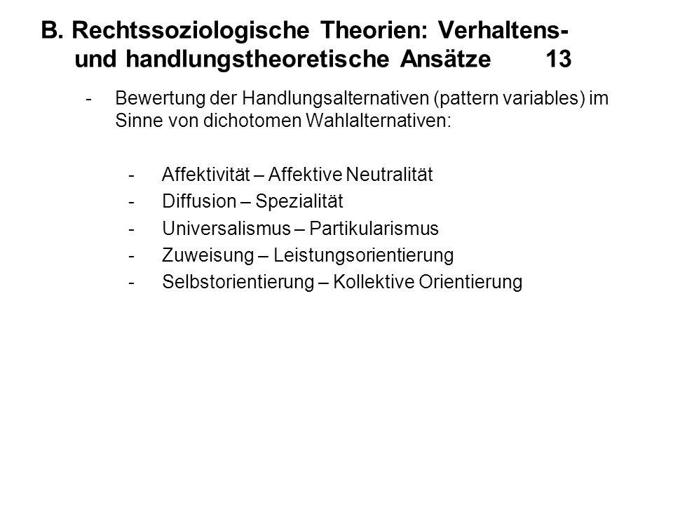 B. Rechtssoziologische Theorien: Verhaltens- und handlungstheoretische Ansätze 13