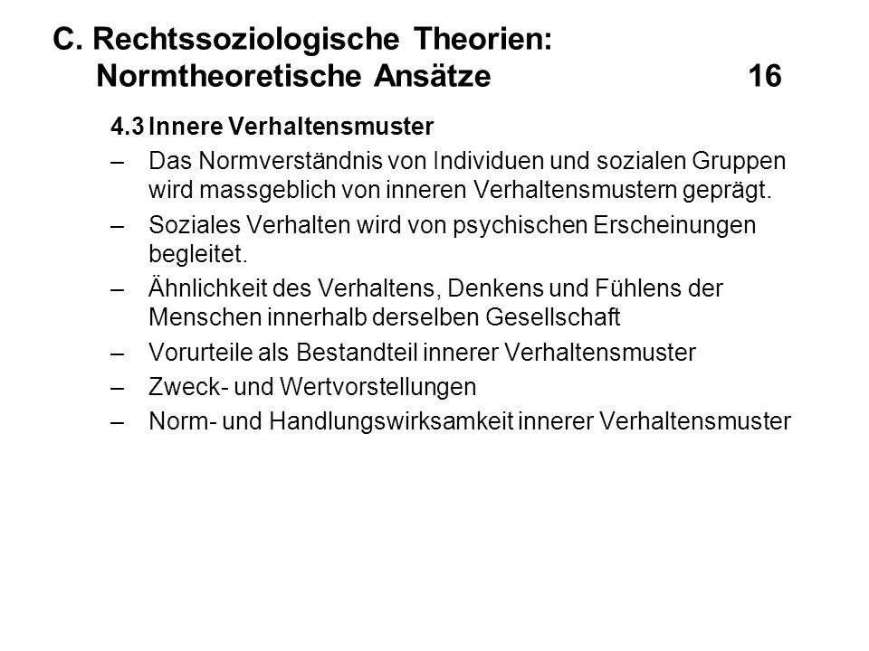 C. Rechtssoziologische Theorien: Normtheoretische Ansätze 16