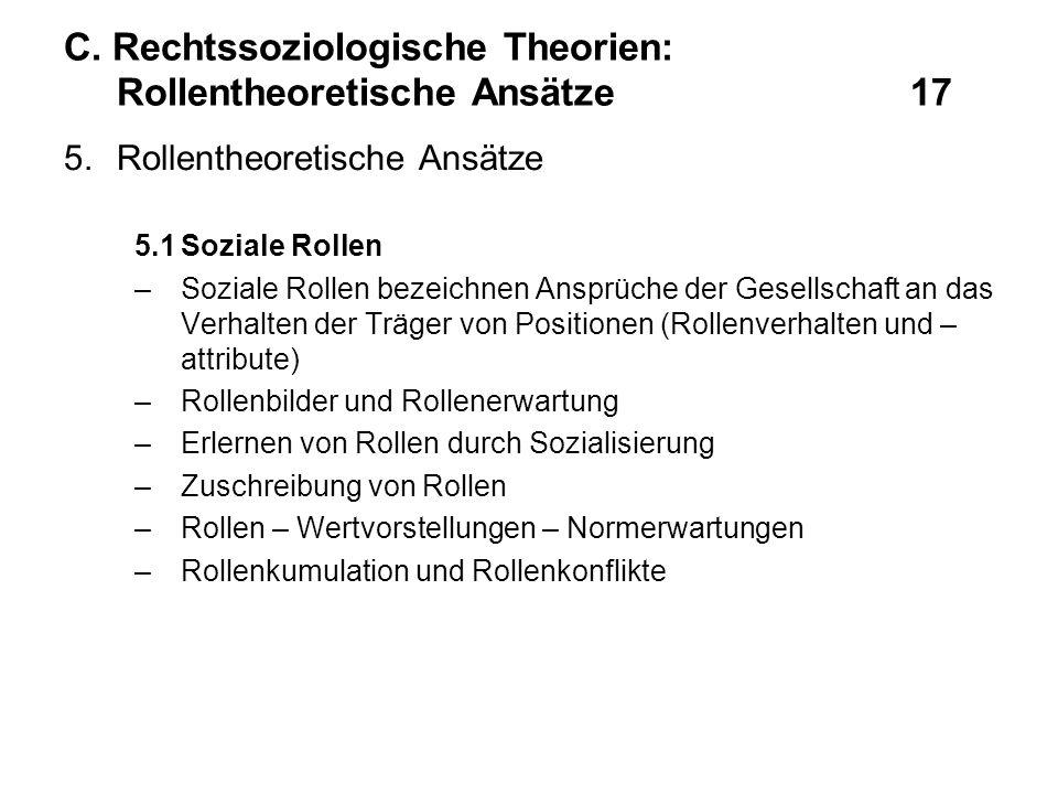 C. Rechtssoziologische Theorien: Rollentheoretische Ansätze 17