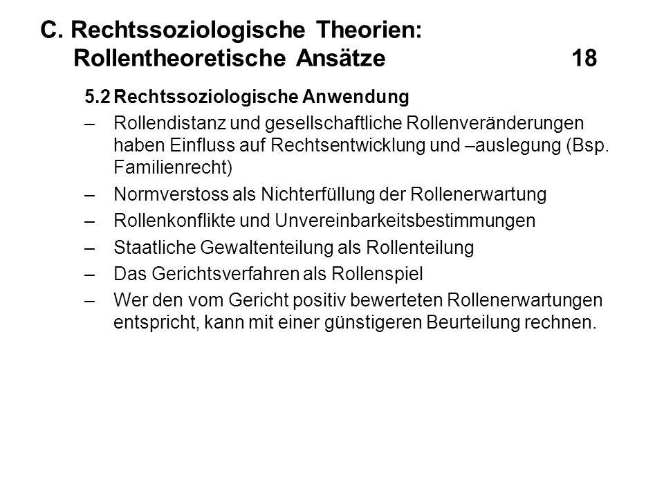 C. Rechtssoziologische Theorien: Rollentheoretische Ansätze 18