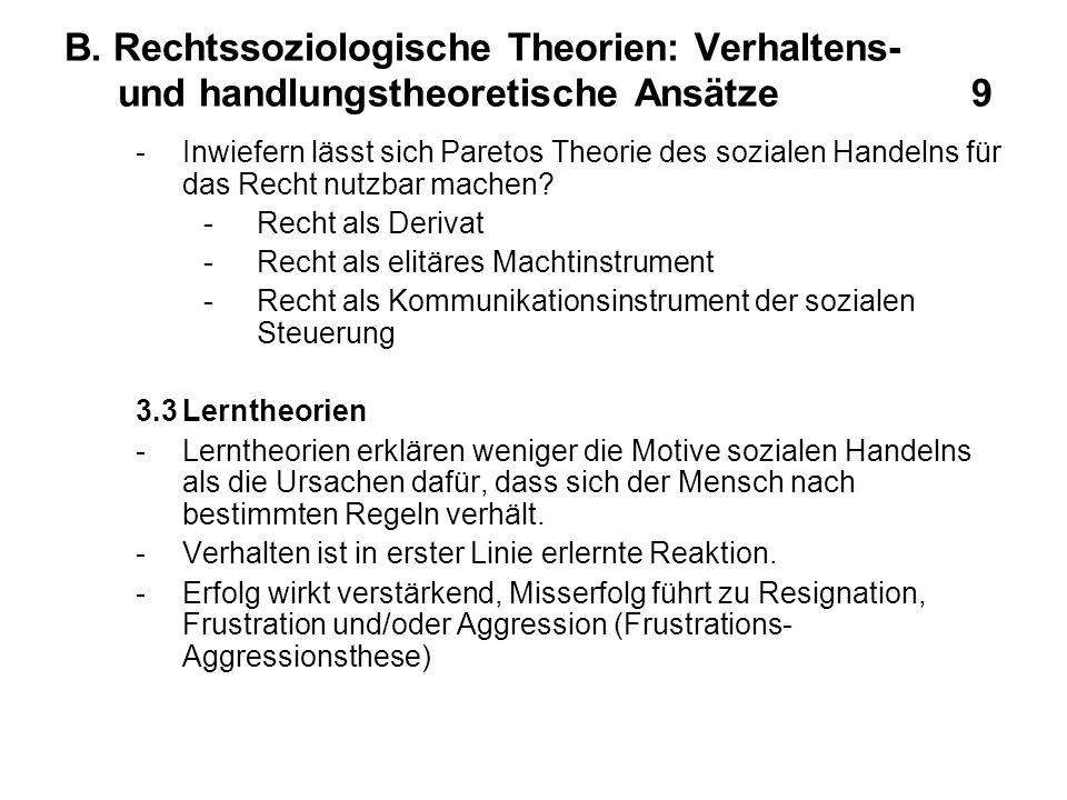B. Rechtssoziologische Theorien: Verhaltens- und handlungstheoretische Ansätze 9