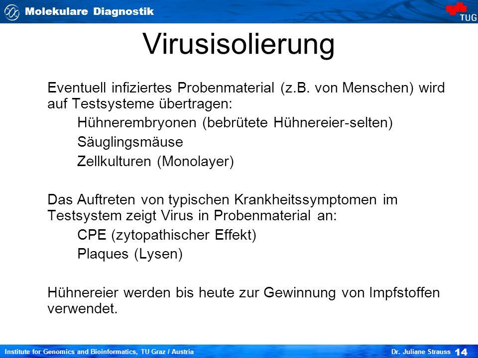 Virusisolierung Eventuell infiziertes Probenmaterial (z.B. von Menschen) wird auf Testsysteme übertragen: