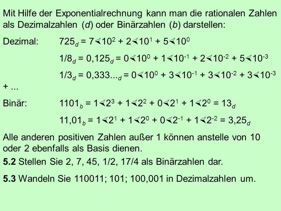 Mit Hilfe der Exponentialrechnung kann man die rationalen Zahlen als Dezimalzahlen (d) oder Binärzahlen (b) darstellen: