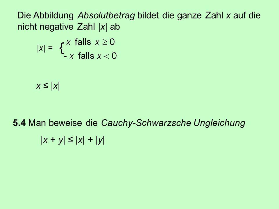 5.4 Man beweise die Cauchy-Schwarzsche Ungleichung |x + y| ≤ |x| + |y|