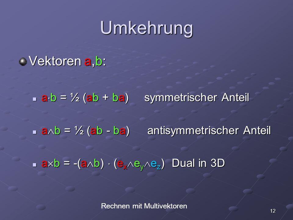 Rechnen mit Multivektoren