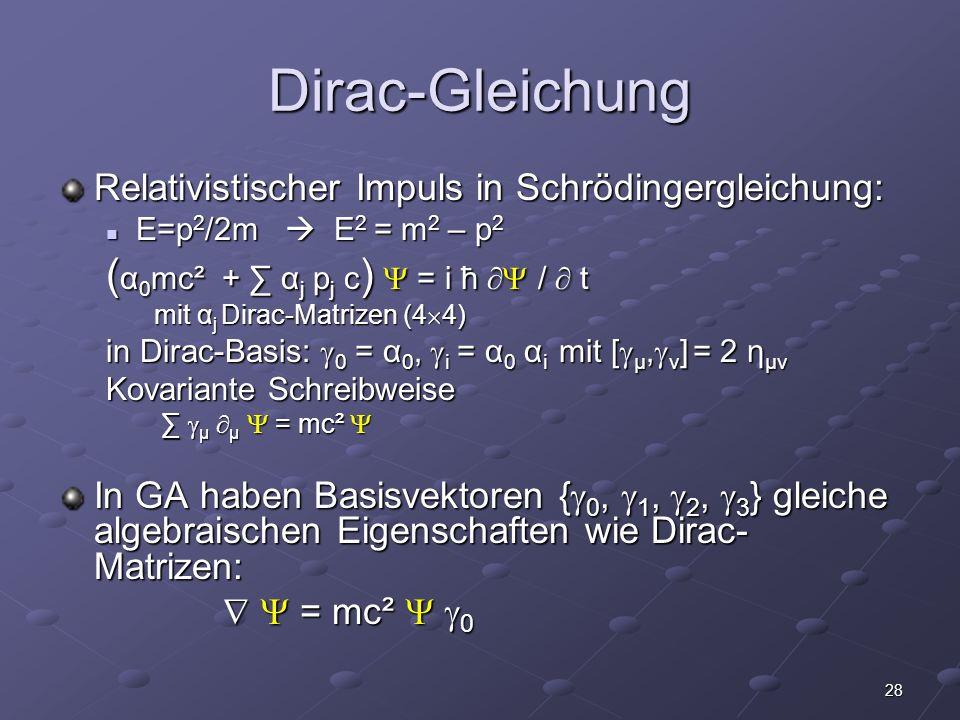 Dirac-Gleichung (α0mc² + ∑ αj pj c)  = i ħ  /  t