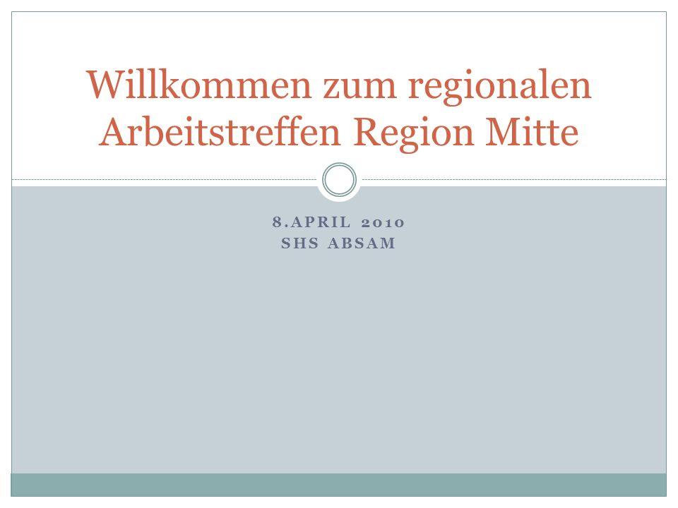 Willkommen zum regionalen Arbeitstreffen Region Mitte