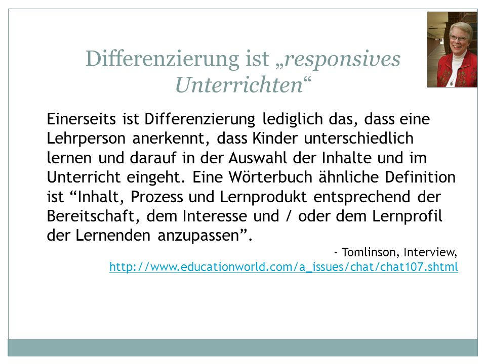 """Differenzierung ist """"responsives Unterrichten"""