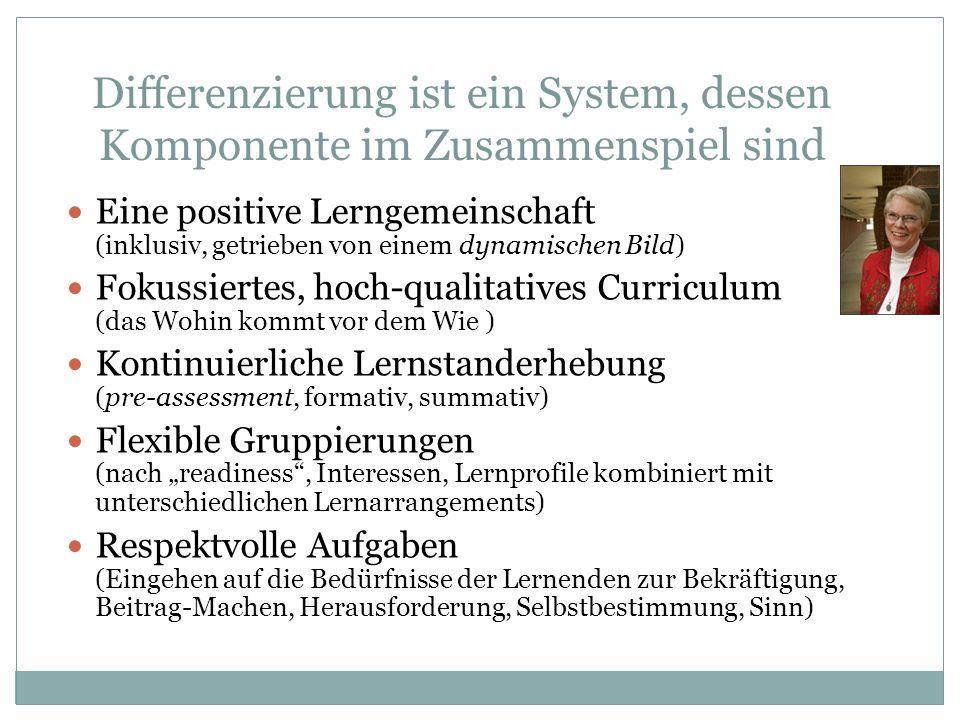 Differenzierung ist ein System, dessen Komponente im Zusammenspiel sind