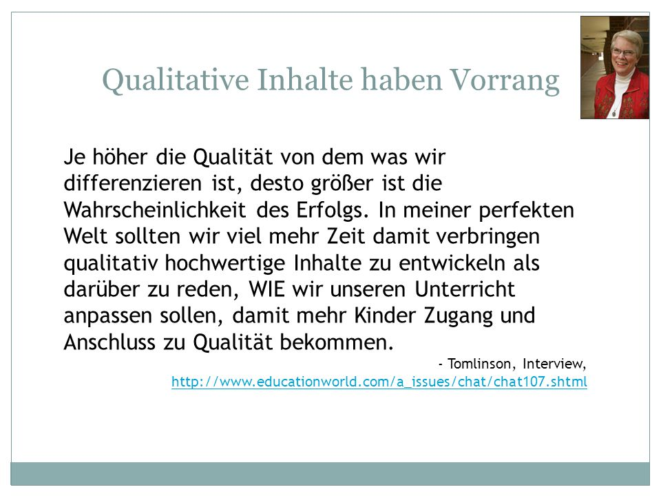 Qualitative Inhalte haben Vorrang