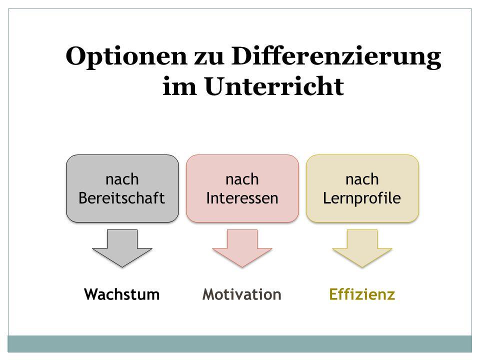 Optionen zu Differenzierung im Unterricht