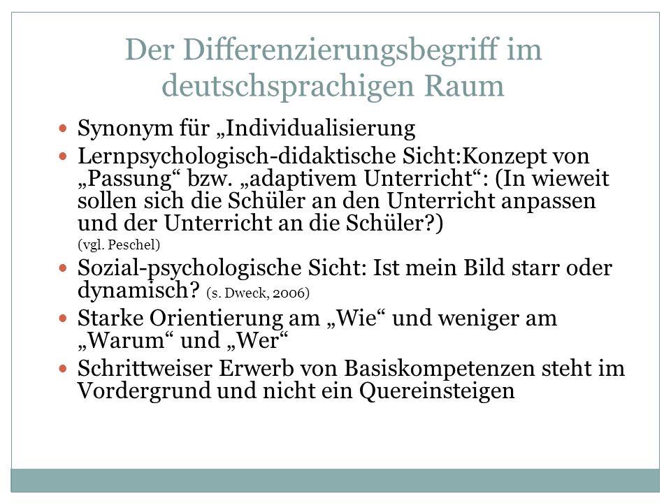 Der Differenzierungsbegriff im deutschsprachigen Raum