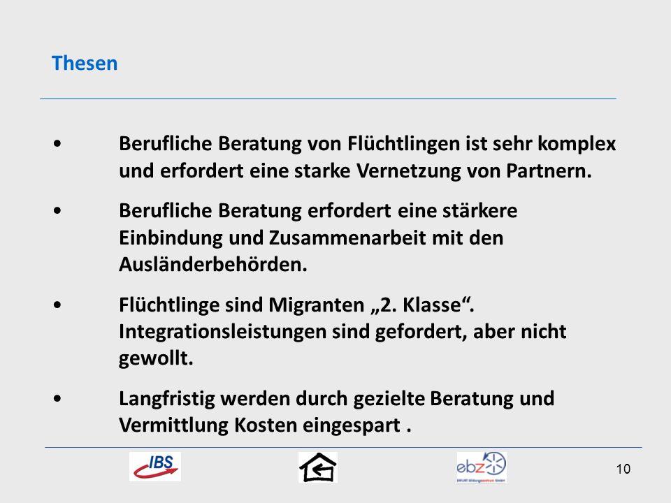 ThesenBerufliche Beratung von Flüchtlingen ist sehr komplex und erfordert eine starke Vernetzung von Partnern.