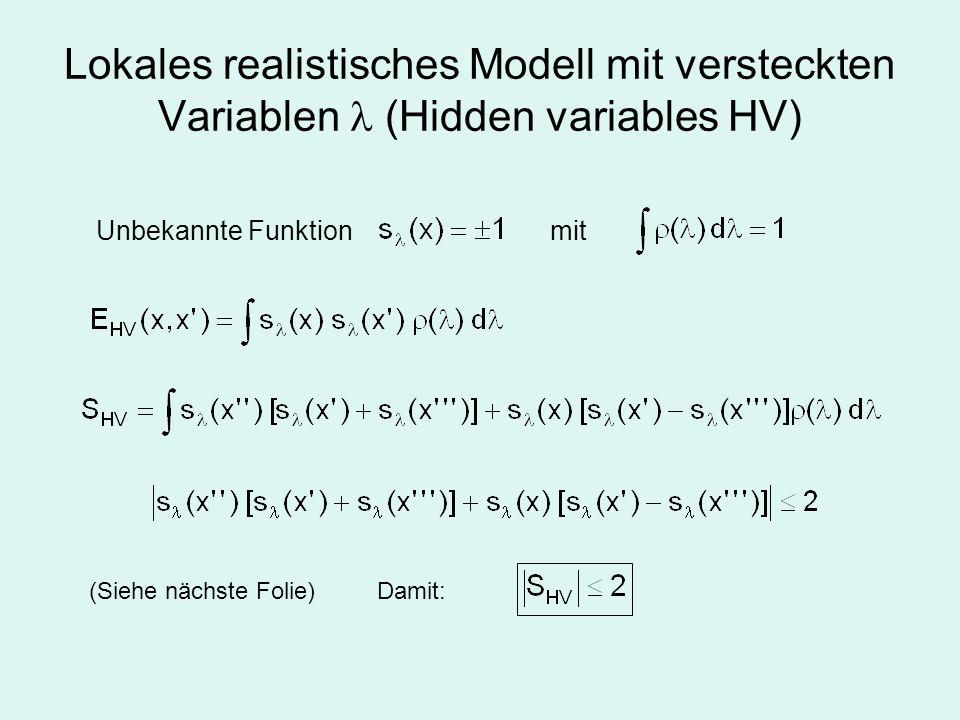 Lokales realistisches Modell mit versteckten Variablen  (Hidden variables HV)