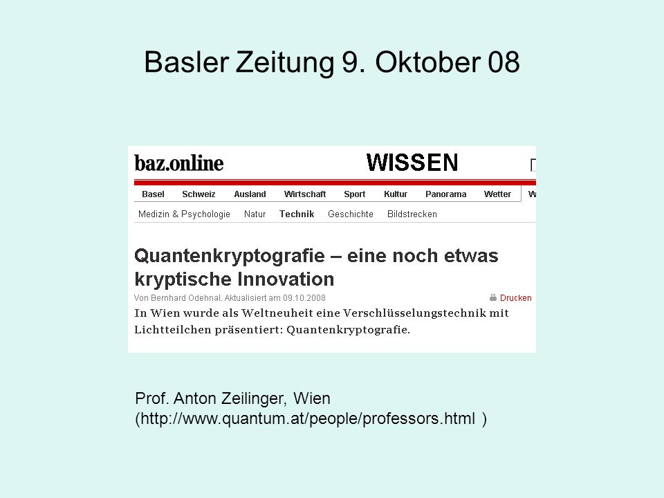 Basler Zeitung 9. Oktober 08