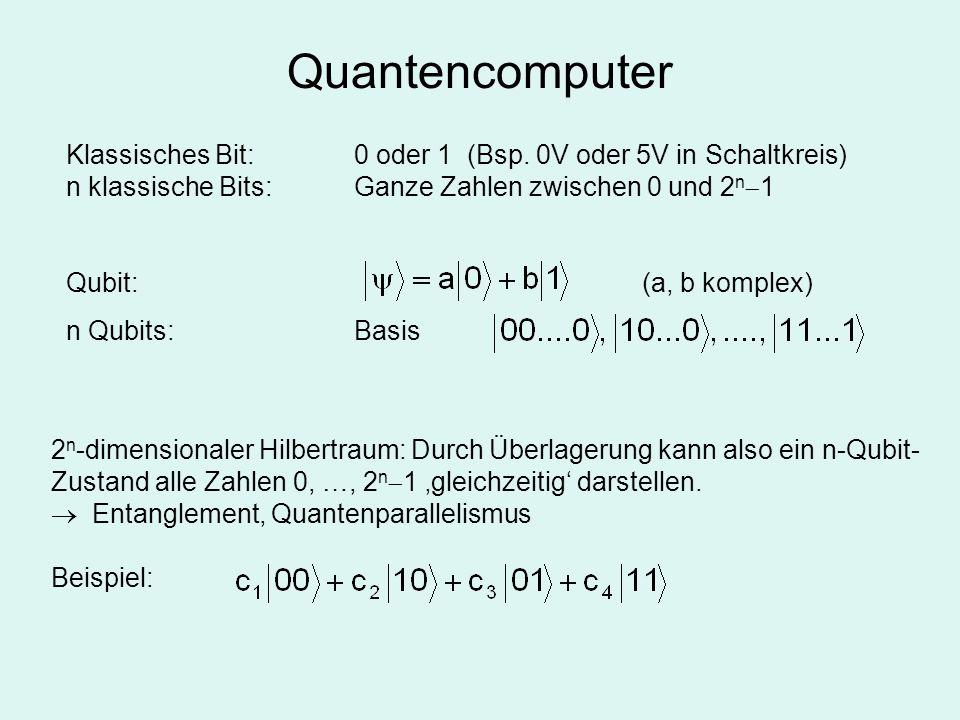 Quantencomputer Klassisches Bit: 0 oder 1 (Bsp. 0V oder 5V in Schaltkreis) n klassische Bits: Ganze Zahlen zwischen 0 und 2n1.