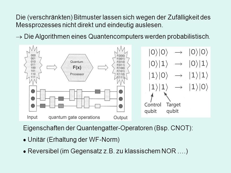 Die (verschränkten) Bitmuster lassen sich wegen der Zufälligkeit des Messprozesses nicht direkt und eindeutig auslesen.