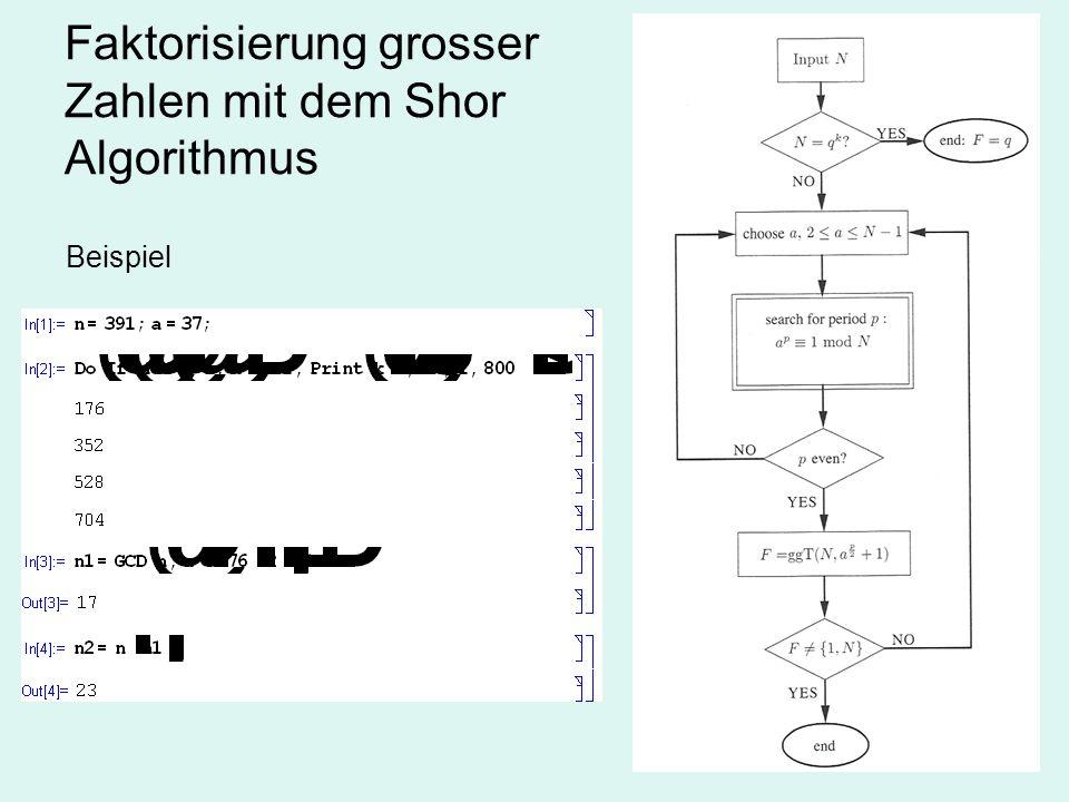 Faktorisierung grosser Zahlen mit dem Shor Algorithmus