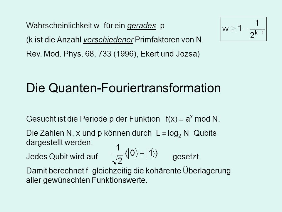 Die Quanten-Fouriertransformation