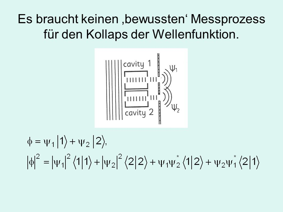 Es braucht keinen 'bewussten' Messprozess für den Kollaps der Wellenfunktion.