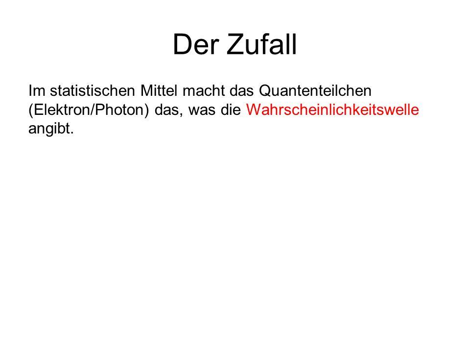 Der Zufall Im statistischen Mittel macht das Quantenteilchen (Elektron/Photon) das, was die Wahrscheinlichkeitswelle angibt.