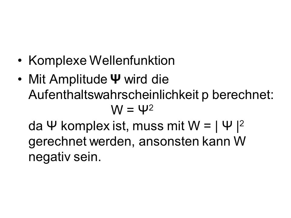 Komplexe Wellenfunktion
