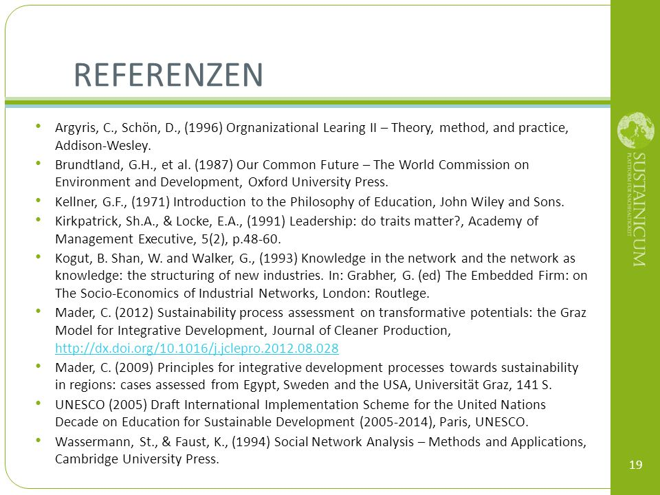 Referenzen Argyris, C., Schön, D., (1996) Orgnanizational Learing II – Theory, method, and practice, Addison-Wesley.