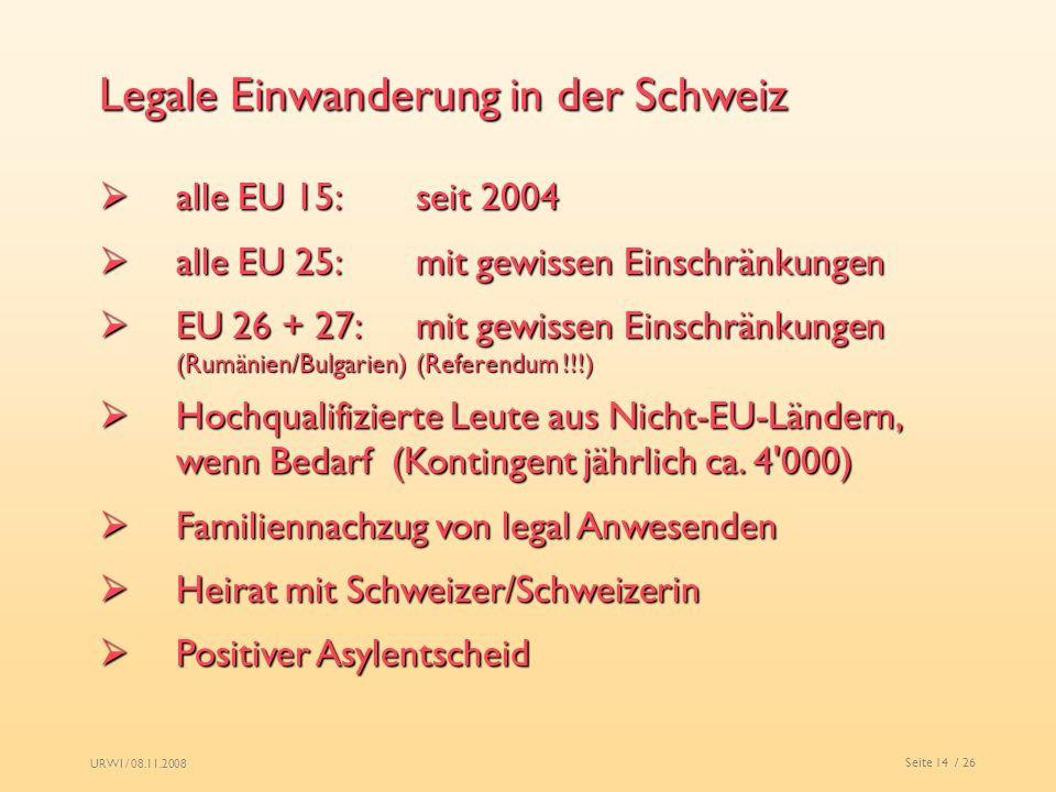 Legale Einwanderung in der Schweiz