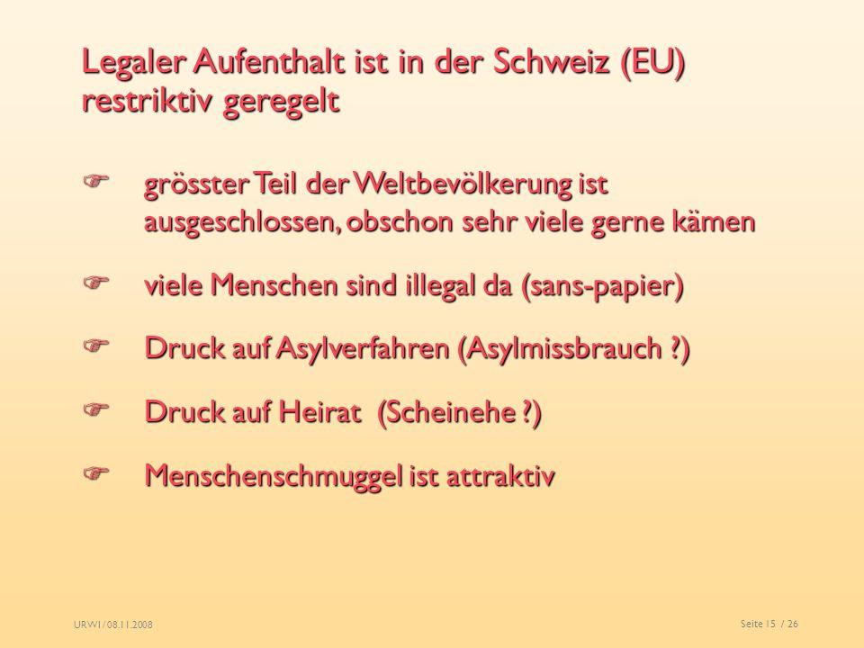 Legaler Aufenthalt ist in der Schweiz (EU) restriktiv geregelt