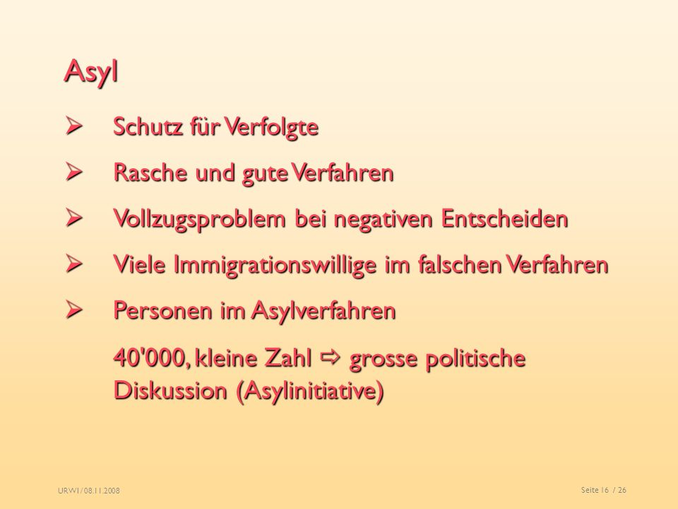 Asyl Schutz für Verfolgte. Rasche und gute Verfahren. Vollzugsproblem bei negativen Entscheiden. Viele Immigrationswillige im falschen Verfahren.