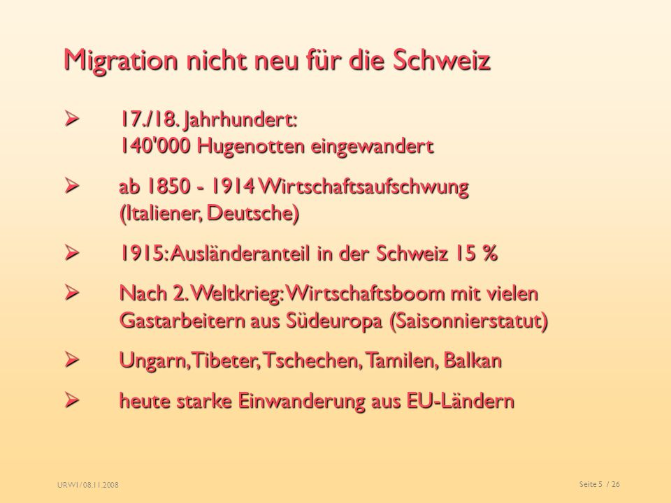 Migration nicht neu für die Schweiz