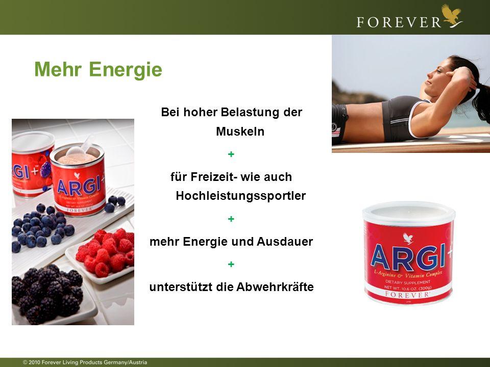 Mehr Energie Bei hoher Belastung der Muskeln +