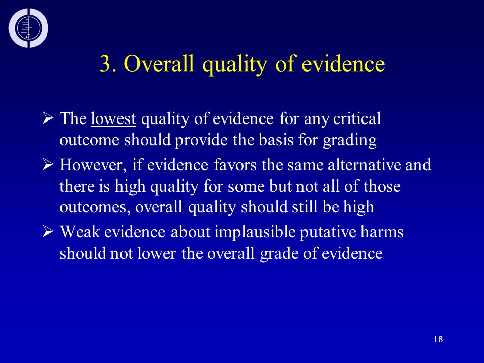 3. Overall quality of evidence