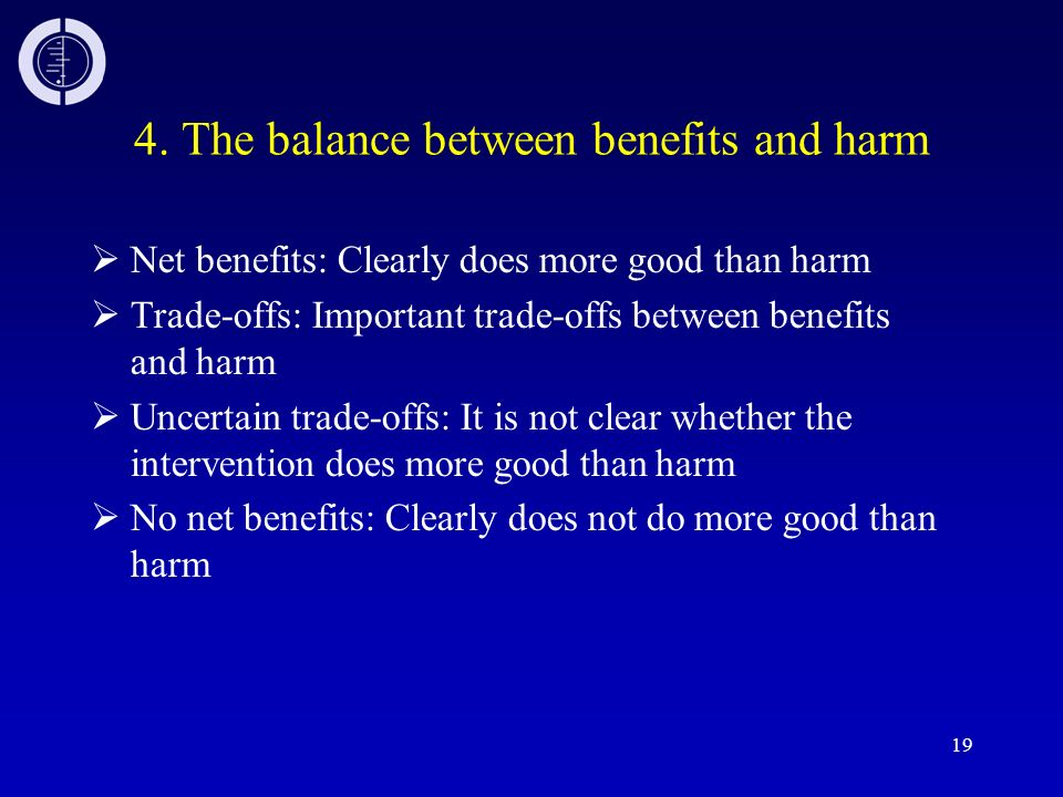 4. The balance between benefits and harm
