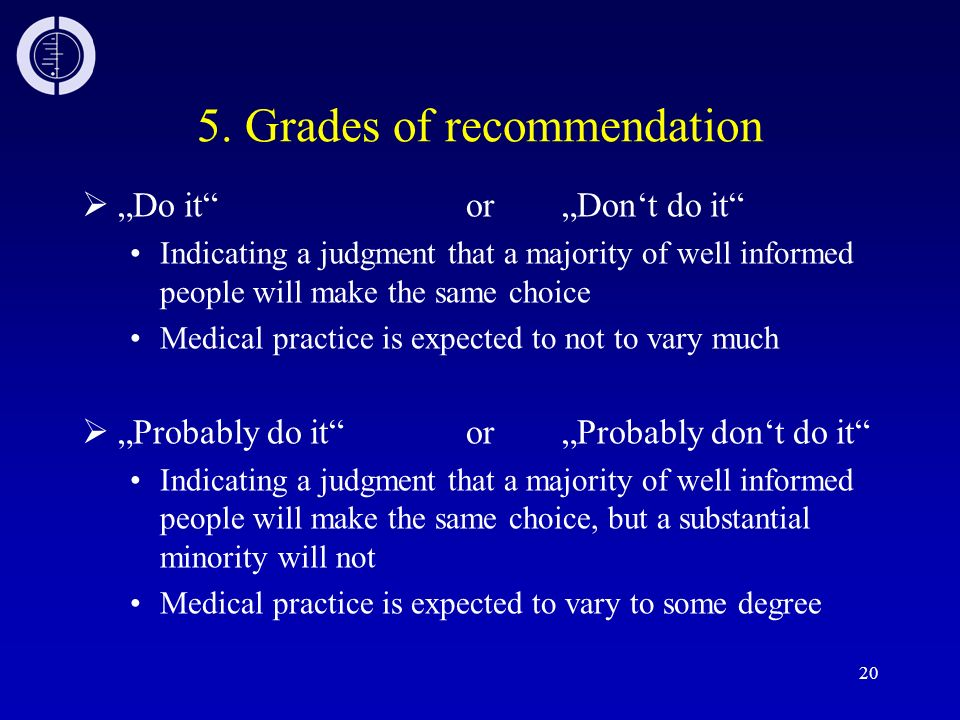 5. Grades of recommendation