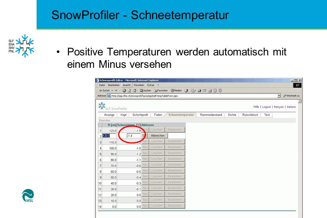 SnowProfiler - Schneetemperatur