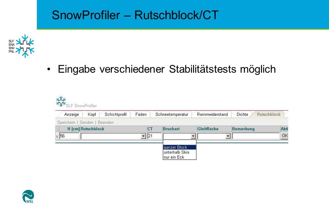 SnowProfiler – Rutschblock/CT