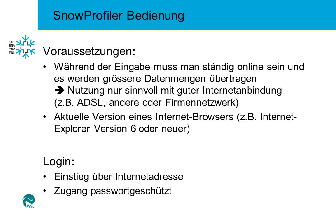 SnowProfiler Bedienung