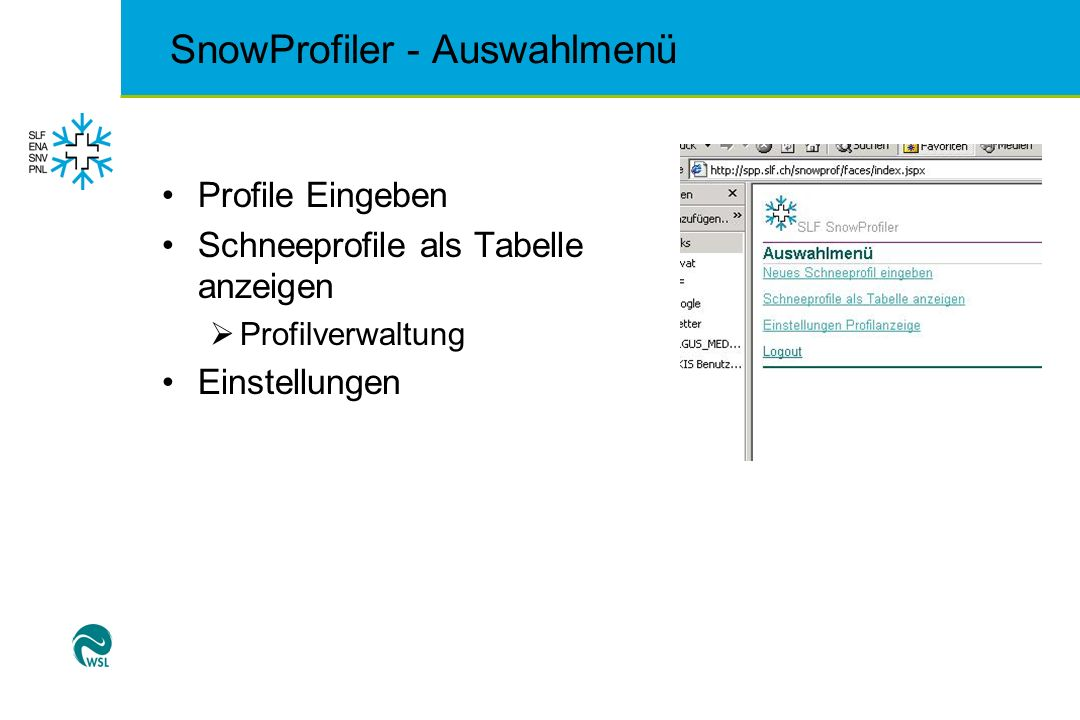 SnowProfiler - Auswahlmenü