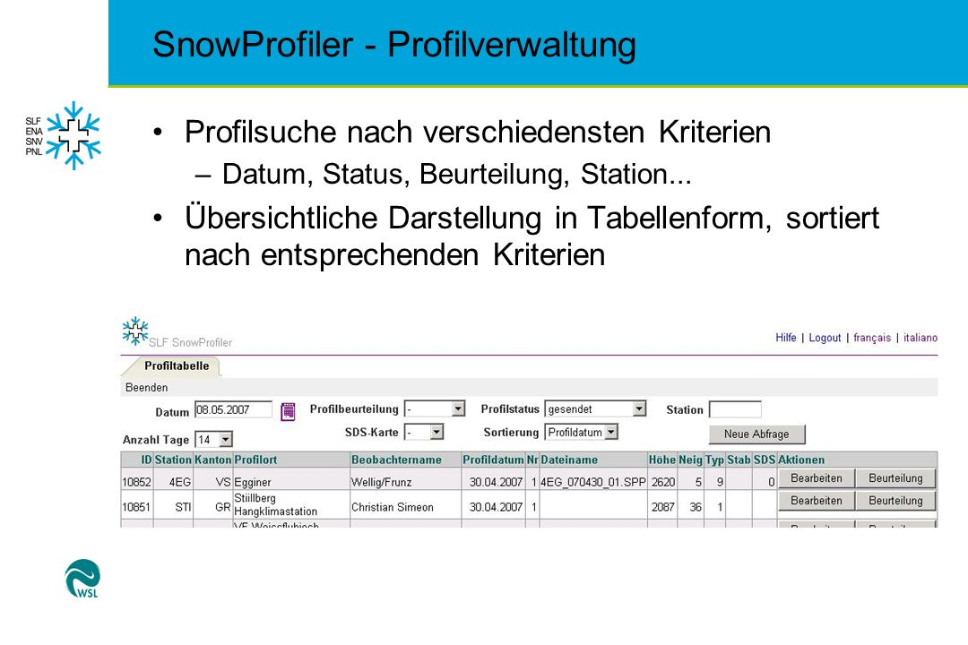 SnowProfiler - Profilverwaltung