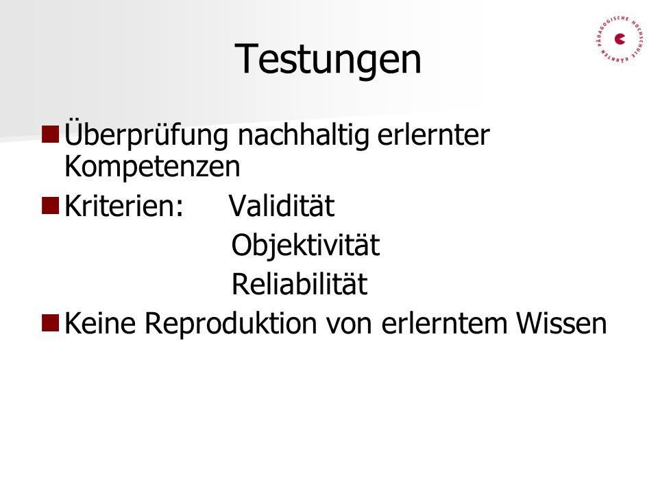 Testungen Überprüfung nachhaltig erlernter Kompetenzen