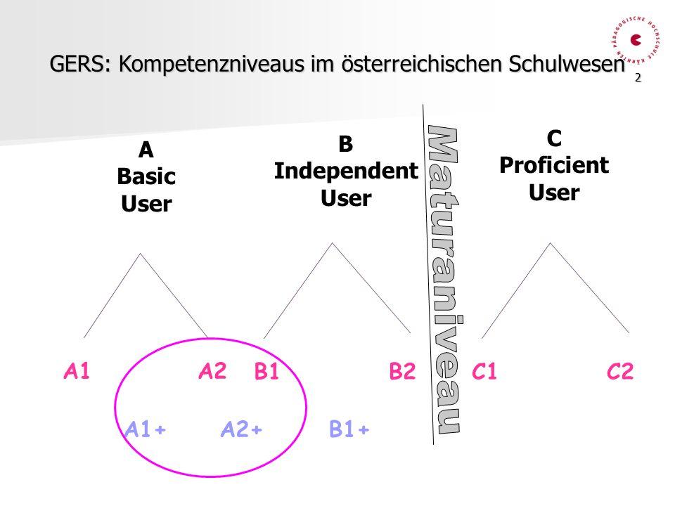 GERS: Kompetenzniveaus im österreichischen Schulwesen