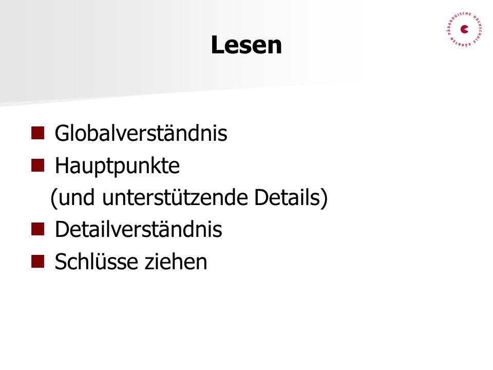 Lesen Globalverständnis Hauptpunkte (und unterstützende Details)