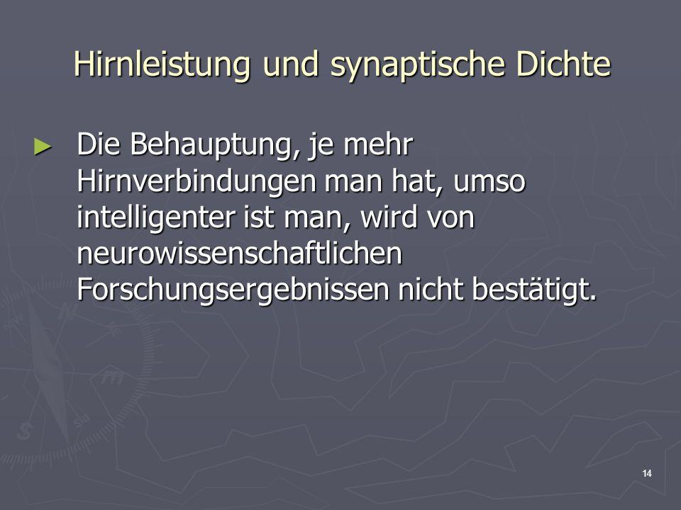 Hirnleistung und synaptische Dichte