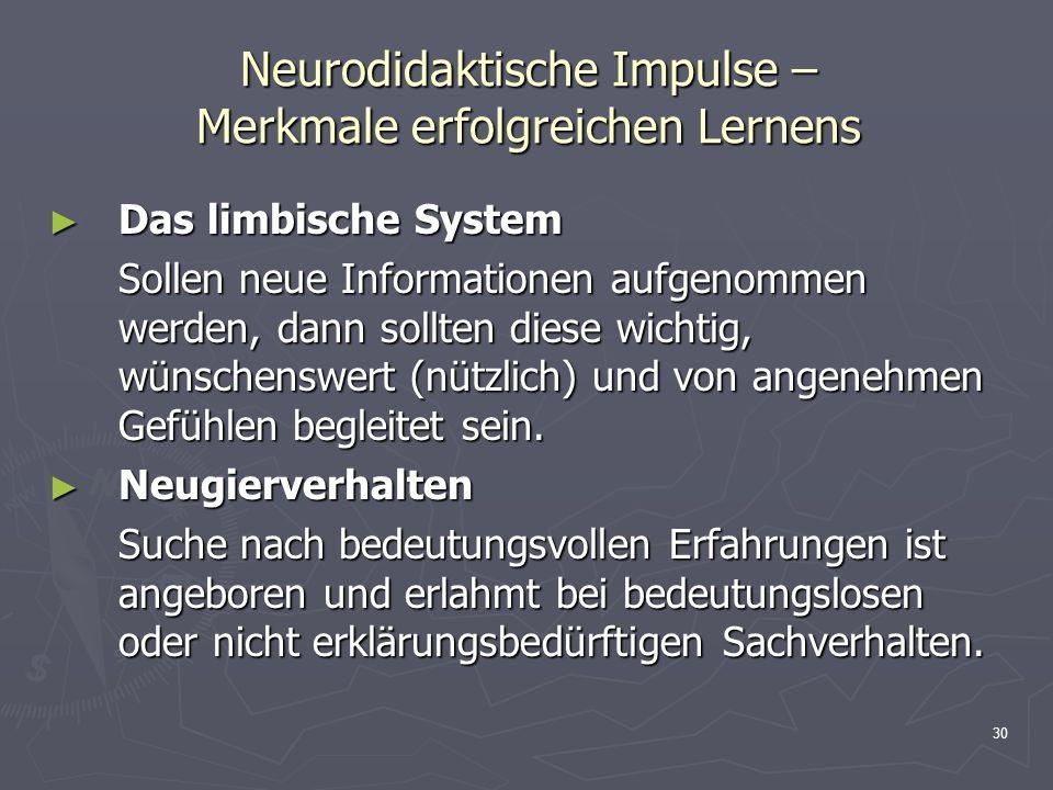 Neurodidaktische Impulse – Merkmale erfolgreichen Lernens