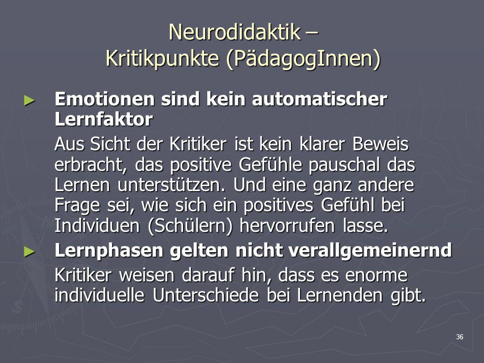 Neurodidaktik – Kritikpunkte (PädagogInnen)