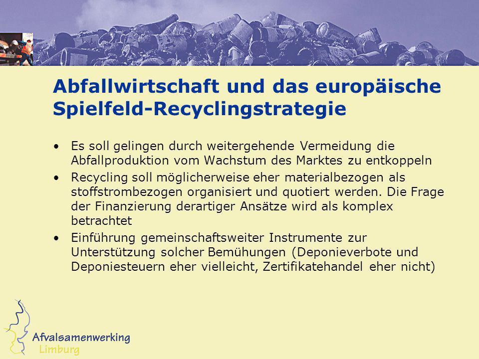 Abfallwirtschaft und das europäische Spielfeld-Recyclingstrategie