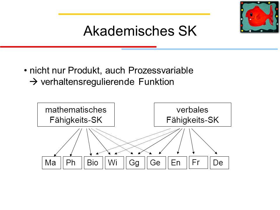 Akademisches SK nicht nur Produkt, auch Prozessvariable  verhaltensregulierende Funktion. mathematisches Fähigkeits-SK.